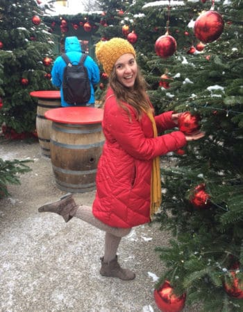 Nicole decorating a Xmas Tree in Germany