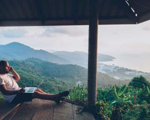 Digital Nomad overlooking mountains