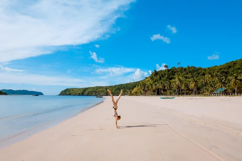 Girl on a beach in palawan