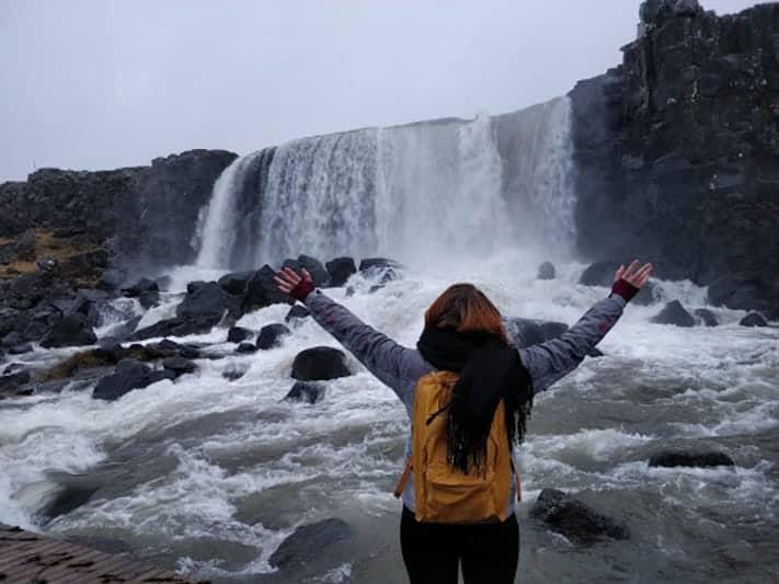 Expat Simone at a waterfall