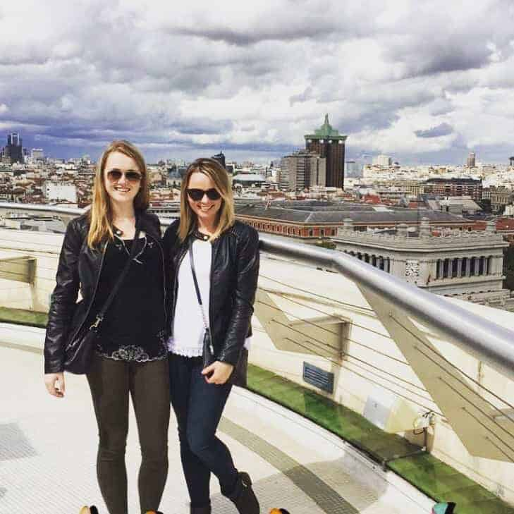 Cara and her sister in Madrid, Spain
