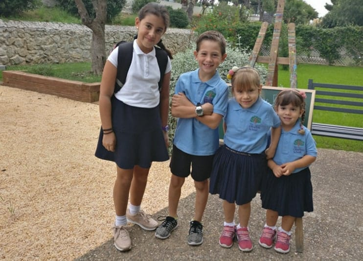 Expat Michals children on the first day at school