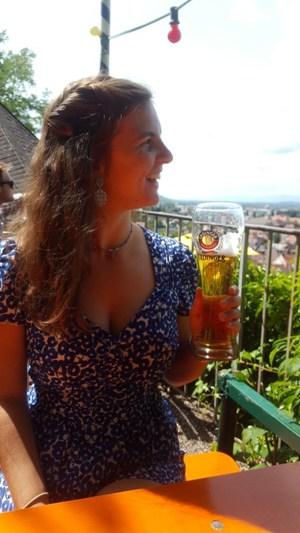 Nicole drinking beer
