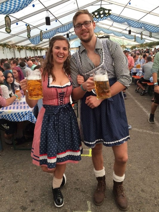 Nicole at the beerfest in Germany