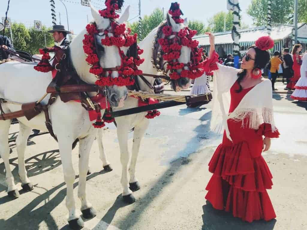 Sable with horses in Seville in traditional dress