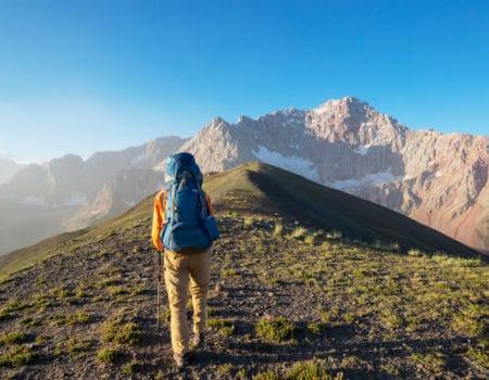Mountain scene and trekker