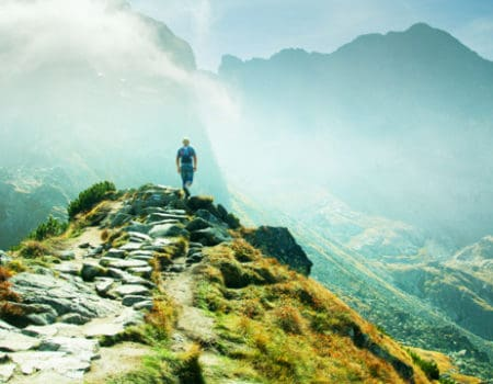 A person hiking in the mountains