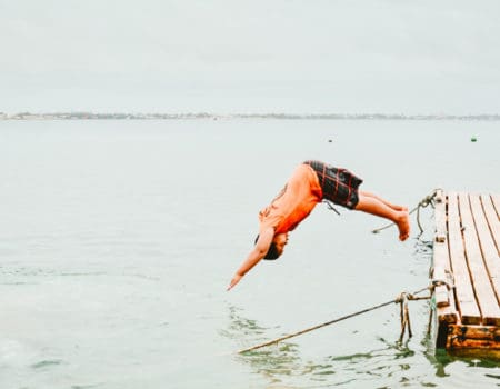 Jumping into the ocean in Kiribati