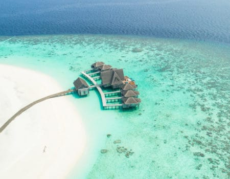 Aerial view of a Maldives resort