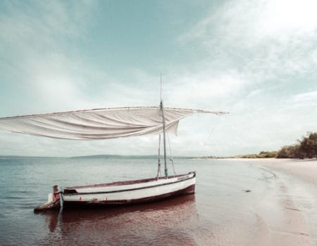 A boat in the ocean in Mozambique