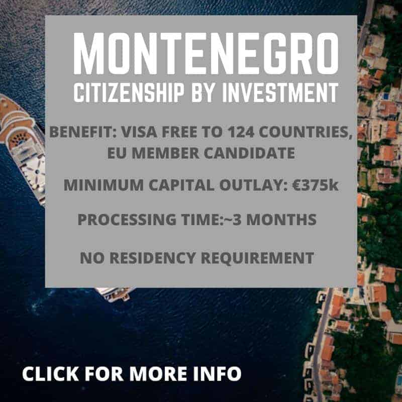 Montenegro citizenship by investment information