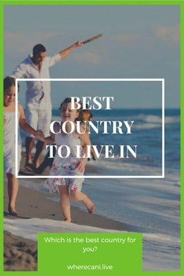 Family on the beach on a pinterest pin saying Best country to live in