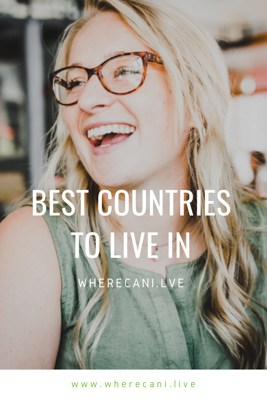 Best country to live in Pinterest pin of a girl laughing