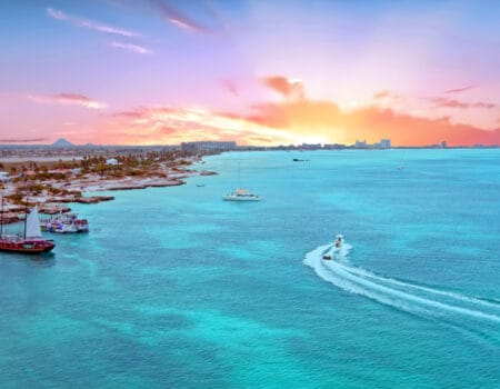 Aerial from Aruba island at sunset. Many want to move to Aruba.