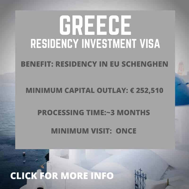 Greece residency by investment visa information