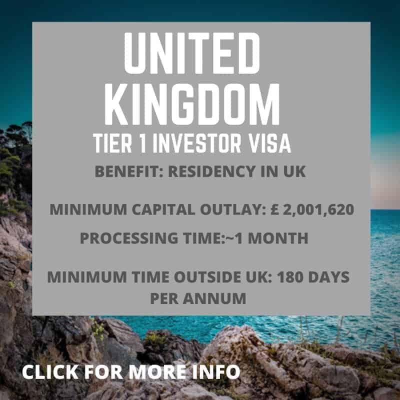 UK Tier 1 Investor Visa information