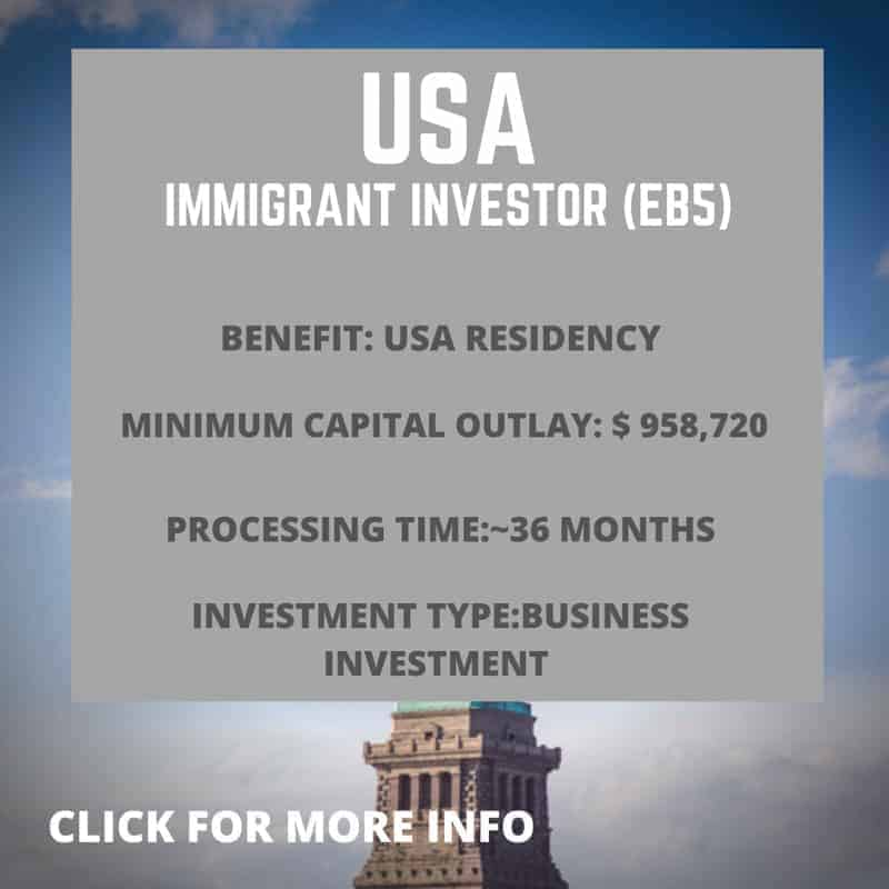 USA Immigrant investor Visa EB5 information