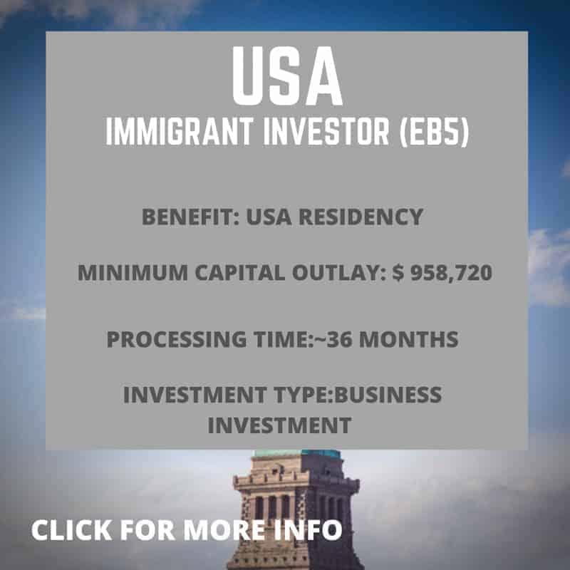USA Immigrant investor Visa EB5 information