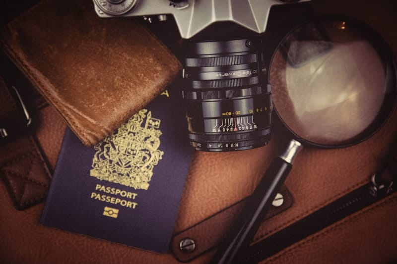 A passport, camera and wallet