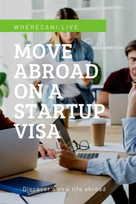 Startup Team with the words Move abroad on a startup visa