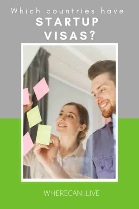 Two people working together and the words Which countries have Startup visas