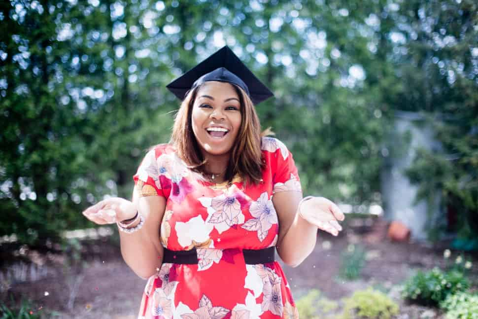 A female international university student celebrates her graduation day.