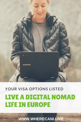 Live a Digital nomad life in Europe Pinterest Pin