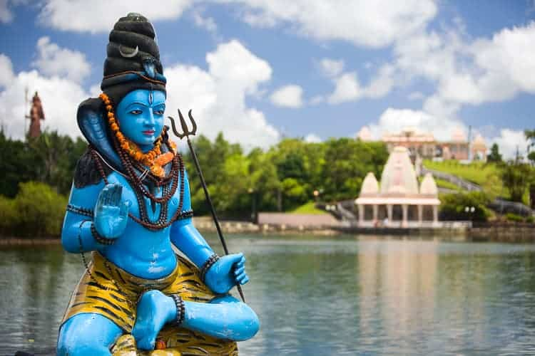 Shiva statue and Hindu temple at Grand Bassin lake, Mauritius