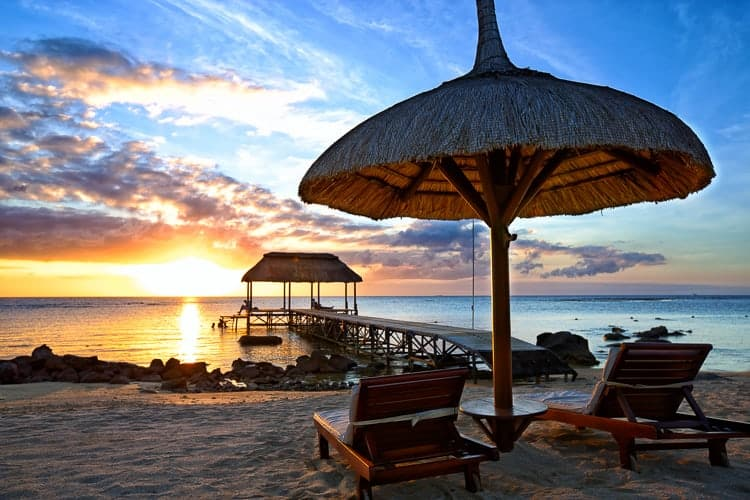 Beautiful sunset in Mauritius Island