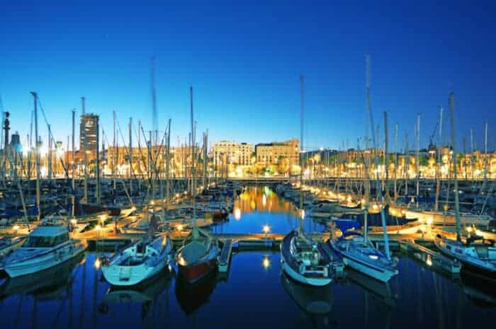 Night view of Marina Port Vell in Barcelona, Spain