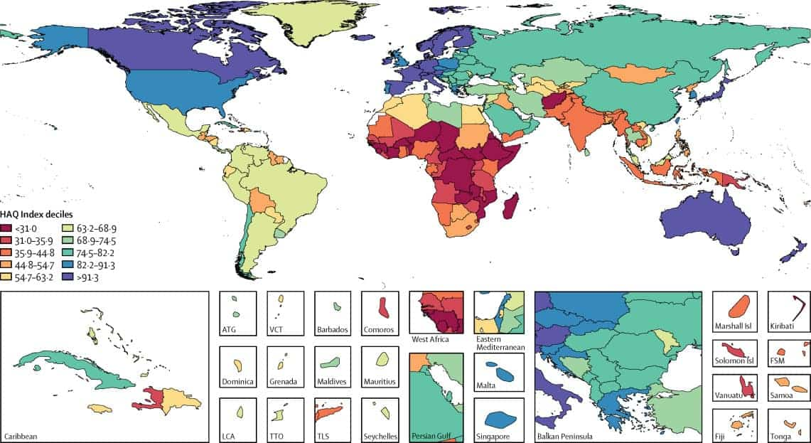 Healthiest countries in the world according to the HAQI