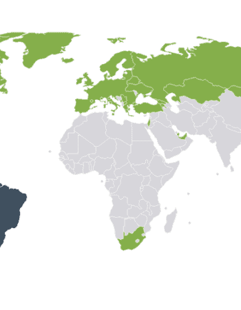 Map of Argentina tourist visa and short-stay visa requirements by country.