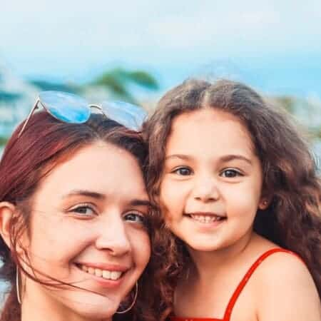 A mother and daughter in a safe country