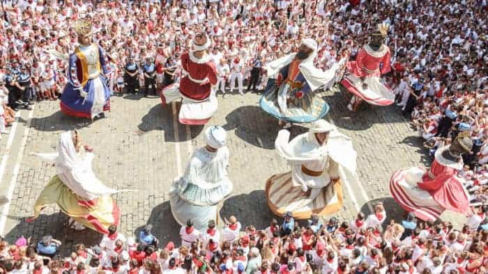 Festival in Spain.  Students families visiting them