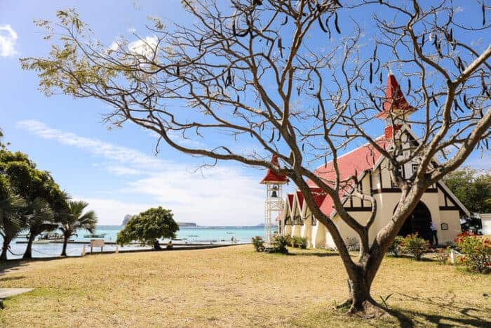 A typical building and landscape of Mauritius
