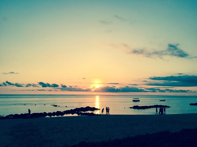 Sunset over a beach in Mauritius
