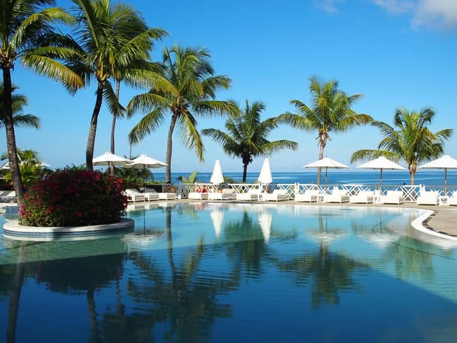 A beautiful resort on Mauritius, where you can get citizenship.