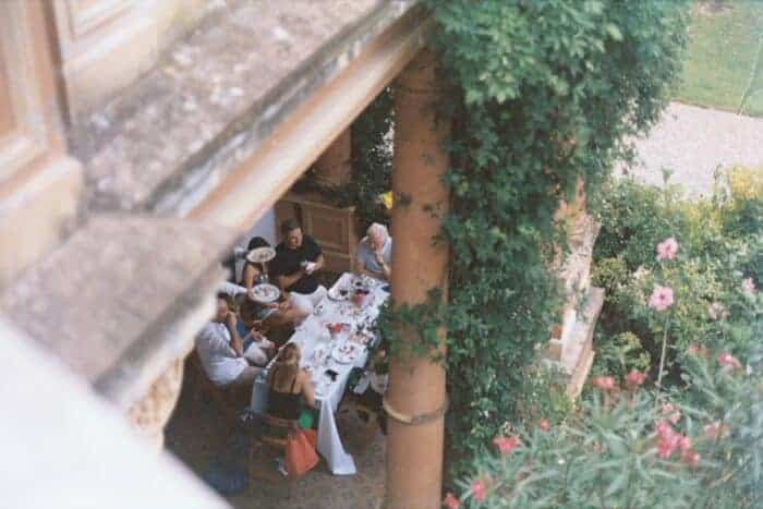 A family in Argentina having a lunch to celebrate getting visas.