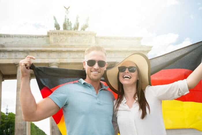 A couple with a German flag who just got citizenship
