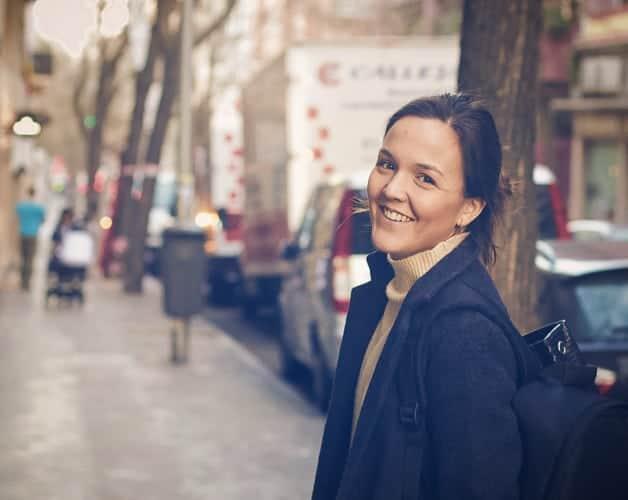 A happy woman in Barcelona
