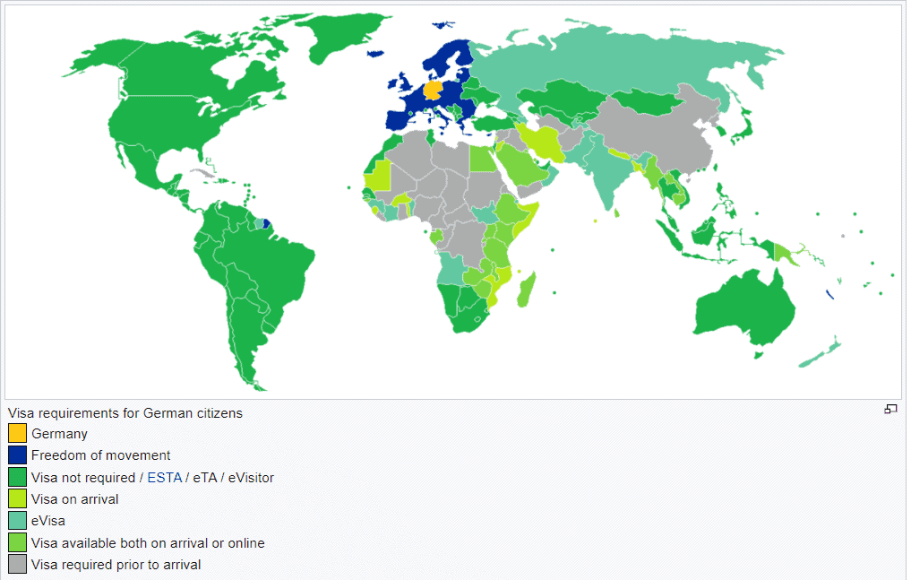 Visa requirements map for German citizens and passport holders.
