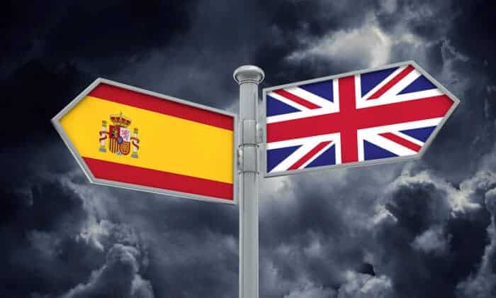 Spain and UK flags.  Showing Brexit