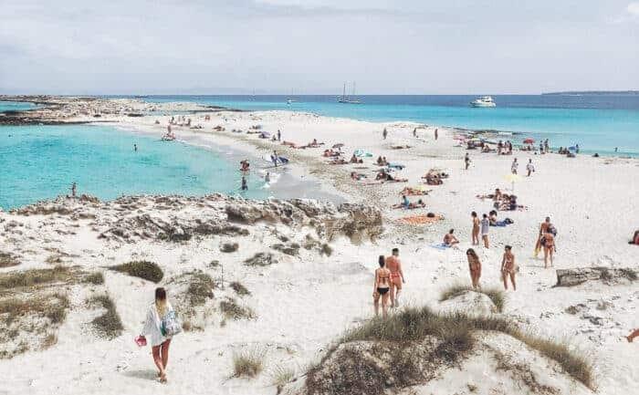 People on the beach in Spain