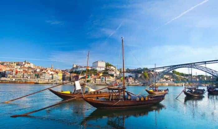 Boats in Porto in Portugal where youcan get a Golden Visa