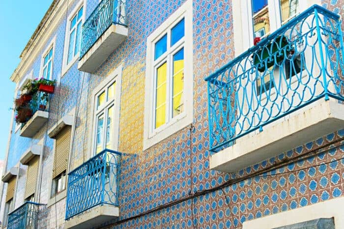House in Lisbon with traditional Portugal tiles.