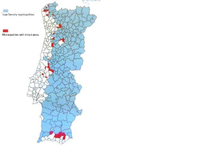 A map describing the low-density areas appropriate for Portugal Golden Visa property investment.