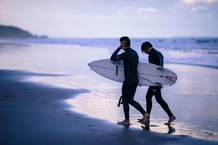 Surfers enjoying life in their new country of residency.