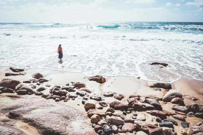 A girl on a beach in Portugal