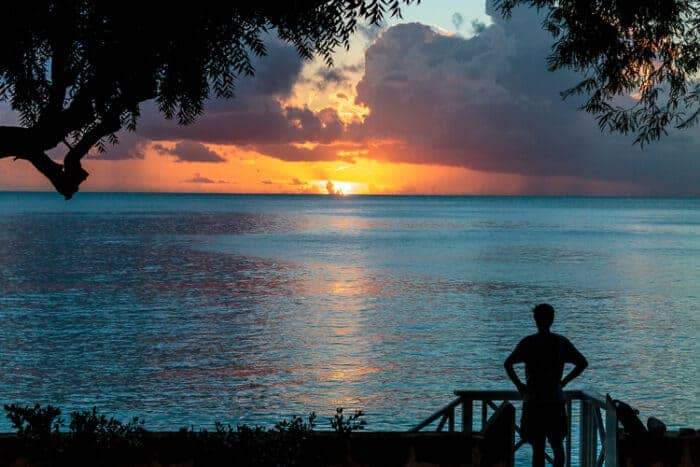 Man looking at the ocean in Barbados