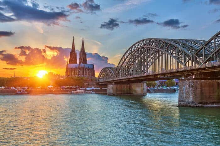 View on Cologne at sunset.  A city in Germany